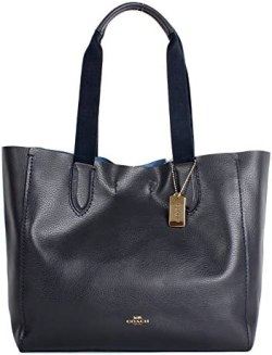 Coach Soft Pebble Leather Derby Tote F58660 Midnight Lapis