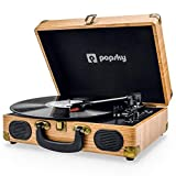 Popsky Record Player, Vintage Turntable Bluetooth Record Player Suitcase with Speaker, Portable LP Vinyl Player, Vinyl to MP3 Recording, AUX USB RCA Headphone Jack