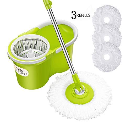 HomeHelper Microfiber Spin Mop,Bucket Floor Cleaning System-With 3 Microfiber Mop Heads-1-Year Guarantee