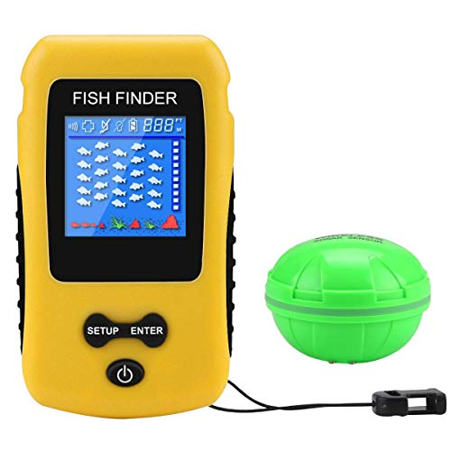 Adkwse Portable Fish Finder Wireless Transducer Fishfinder for Boat