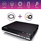 Sandoo DVD Player, HDMI Full HD 1080P Compact CD/Disc Player, Up Converting Muilt Region with Remote Control, Built-in PAL/NTSC System, USB/MIC Input for TV Connection, RCA Audio/HDMI Cable Included