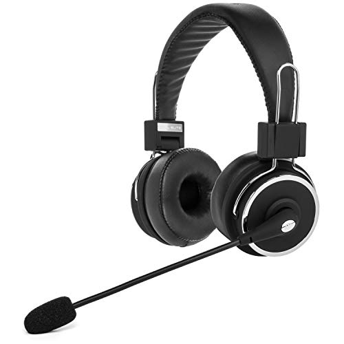 Blue Tiger Dual Elite Wireless Bluetooth Headset - Premium Noise Cancelling Headphones with No Wires - Ideal Driving, Gaming and Music Accessories - 50 Hour Talk Time - Black