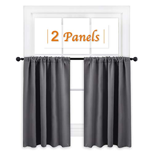 RYB HOME Short Curtains Gray Half Window Curtains for Bedroom, Privacy Curtain Tiers for Windows, Energy Saving Curtain Tiers for Bathroom Shades, Wide 42' x Long 36' per Panel, Grey, Set of 2