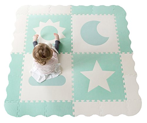 Baby Play Mat Tiles - 61' x 61' Extra Large, Non Toxic Foam Puzzle Floor Mat for Kids, Teal & White Interlocking Foam Playroom & Nursery Mat, Safe & Protective for Infants & Toddlers