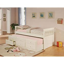 Coaster Fine Furniture 300107 Mission Style Day Bed with Trundle, White