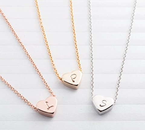 SAME DAY SHIPPING GIFT TIL 2PM CDT A Tiny Heart Initial Necklace 16K Gold Silver Rose Plated Handstamped Delicate Personalized