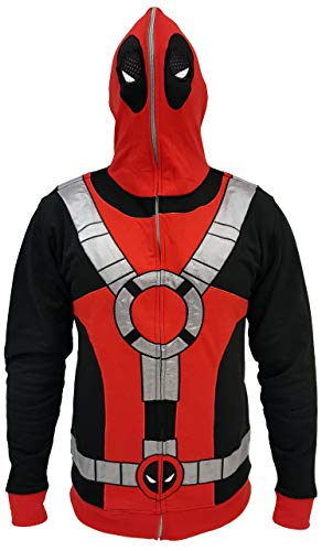 Marvel Universe Deadpool Costume Men's Full Zip Mask Hoodie (Medium) Black/Red