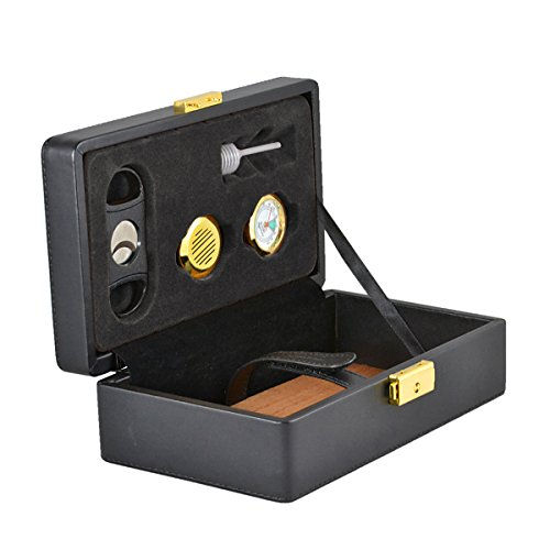 La Cubana Leather Travel Cigar Humidor Includes Humidifier, Hygrometer, Syphone, Cutter, Brass Key and Lock By Usgifts
