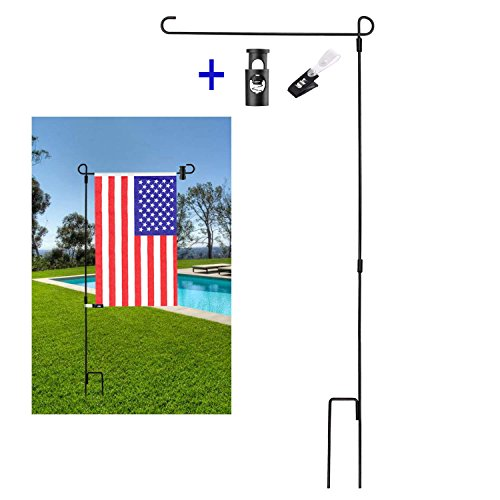 BonyTek Garden Flag Stand Flagpole, Black Wrought Iron Small Flag Stand for Yard Garden Flag Pole Flag Holder with Garden Flag Rubber Stopper and Anti-Wind Clip - 36.22' H x 16.53' W (1 Pack)