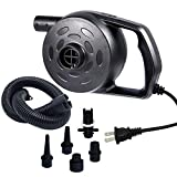 chamvis Electric Air Pump for Inflatables High Power Quick-Fill Air Mattress Pump Inflator Deflator Portable for Raft Bed Boat Pool Toy Exercise Ball Balloons with Nozzles, AC 110-120V, 1.2 PSI
