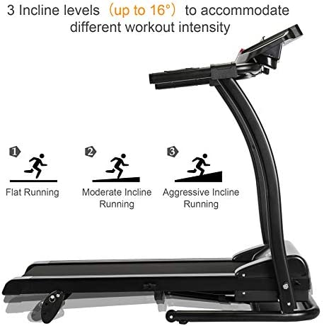 ZELUS 1100W Folding Treadmill for Home Gym with 3 Level Incline, Heart Monitor, Portable Electric Running Machine, Treadmill Foldable with Cup/Phone Holders/Mat 6