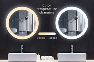 MIRPLUS-24-inch-Round-LED-Vanity-Bathroom-Mirror-with-Touch-Switch-Wall-Mounted-Backlit-Lighted-Makeup-Mirror-Dimmable-Color-Temperature-WarmWhiteGradientAntiFogIP44-Waterproof-High-Lumen