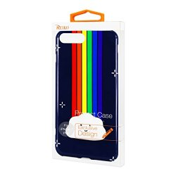 Reiko iPhone 7 Plus TPU With 3D Soft Silicone Poke Squishy Rainbow Cloud Cell Phone Case - Navy