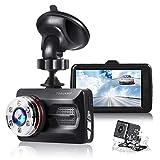 TOGUARD Dual Dash Cam Car Camera 1080P Front and 720P Rear View Backup Camera 170° Wide Angle 3.0' LCD, Night Vision WDR G-Sensor Parking Monitor Loop Recording Motion Detection