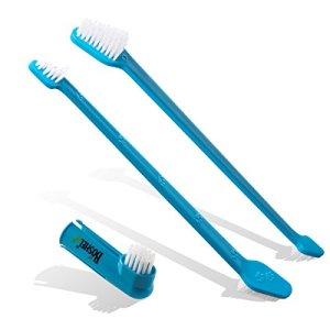BOSHEL Dog Toothbrush Pack - 2 Long Handled Dual Headed Toothbrush + 1 Dog Finger Toothbrush Kit for Dog Dental Care - Use Double Sided Pet Toothbrush Set & Pet Finger Toothbrush with Dog Toothpaste 11