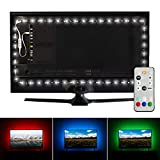 Luminoodle Professional Bias Lighting for HDTV   6500K True White + 15 Color LED TV Backlight with Remote   USB Lights Strip Kit for Home Theater Ambient Lighting - Pro - Large (30' - 40' TV)