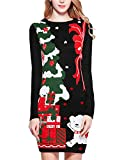 v28 Ugly Christmas Sweater for Women Vintage Funny Merry Knit Sweaters Dress (M, Bear Black)