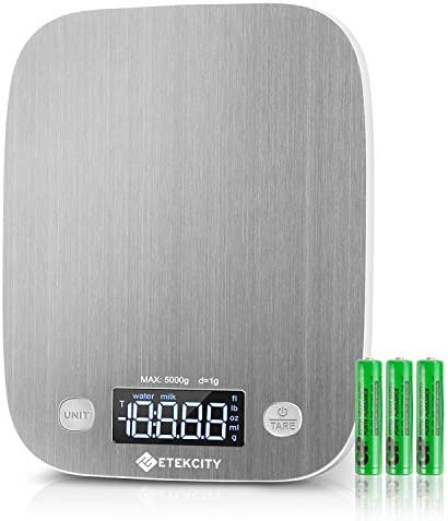 Etekcity Food Scale, Digital Kitchen Weight Grams and Ounces for Baking and Cooking, Medium/LED Display, Silver Stainless Steel 3