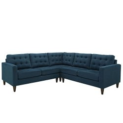 Modway Empress Mid-Century Modern Upholstered Fabric Sectional Sofa Set In Azure