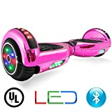 XtremepowerUS Self Balancing Scooter Hoverboard UL2272 Certified, Bluetooth Speaker and LED Light (Pink Chrome)