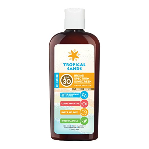 All Natural SPF 30 Sunscreen, Coconut Scent, Biodegradable, Reef Safe by Tropical Sands, Water Resistant Great for Snorkeling, 8 fl oz