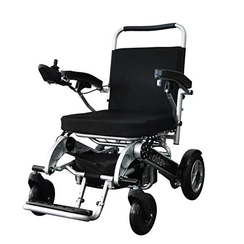 Foldawheel PW-1000XL (2 Batteries+2 Yrs Warranty+Free Travel Bag) Only 53 lb+3.5 lb per Li-ion Battery, Longest Driving Range Power Wheelchair.