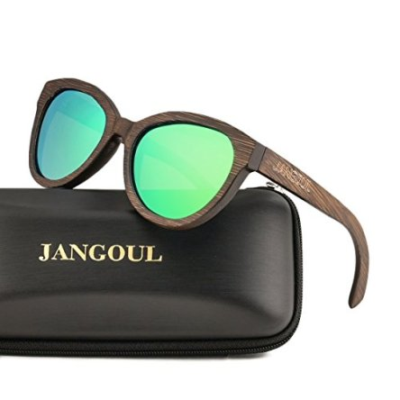 Polarized Sunglasses Bamboo Skateboard Wood Frame For Women with UV400 Lens JANGOUL