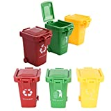 Buytra 6 Pack Kids Garbage Cans for Garbage Truck Toys, Plastic Mini Trash Can Toy Garbage Truck's Trash Cans Bin for Boys
