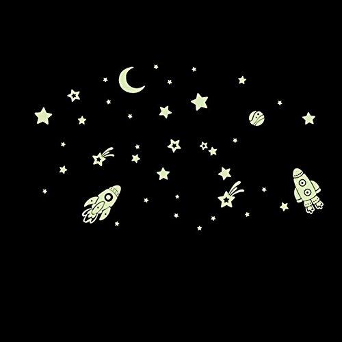 Tema del Espacio Exterior Pegatinas Fluorescentes del Arte de la Pared con Glowing Estrellas, Luna,...