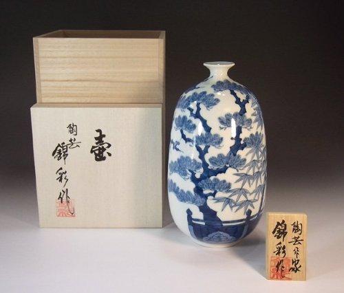Arita - Imari pottery vase - Sho Chiku Bai   gifts   Gifts   souvenir   gift   potter Fujii NishikiAya