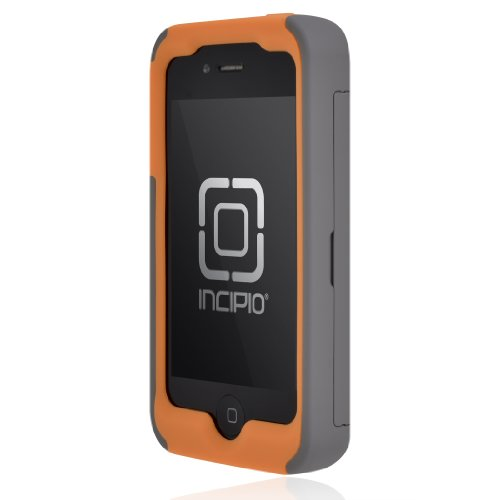 Incipio IPH-678 Stowaway Credit Card Case for iPhone 4/4S - Retail Packaging - Dark Gray/Orange