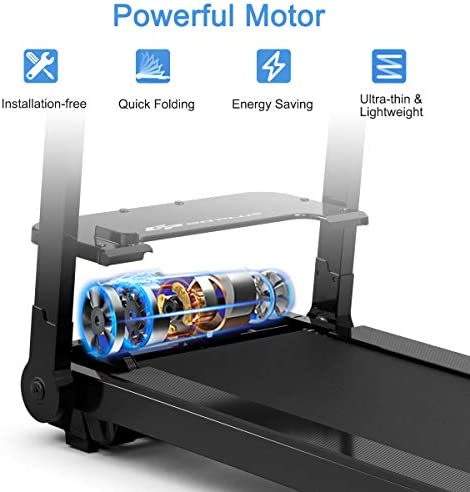 Goplus Electric Folding Treadmill, Installation-Free, with LED Touch Display, Adjustable Armrest, and Tablet/Phone Holder, Compact Walking Running Machine for Home and Office Use 8