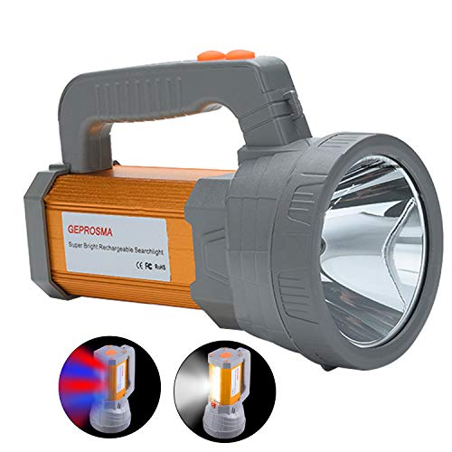 Super Bright Rechargeable LED Handheld Spotlight Flashlight High Lumens Powered CREE Searchlight Large Battery 10000 mah Long Lasting Torch, Side Floodlight Lantern Work Light USB Charges Phone