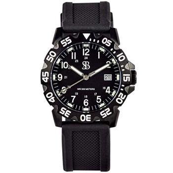 SB Watches Men's Original SANS-13 Analog Display Black Stainless Steel Watch