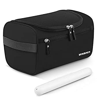 """Package List:- 1 x Travel Toiletries Bag- 1 x Toothbrush CaseDetails for Toiletry PouchName:  Zeamoco Toiletry BagColor: BlackSize: 9.8""""L x 5.1""""W x 5.5""""HWeight: 0.34lb(155g)Handy hook: Load bearing up to 10lb(4.5kg)Unique Features:- Made of senior Wa..."""