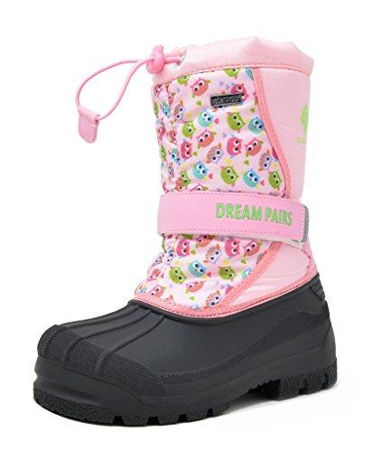 DREAM PAIRS Big Kid Kamick Pink Owl Mid Calf Waterproof Winter Snow Boots Size 4 M US Big Kid