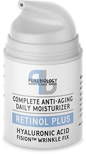 Pure Biology Retinol Moisturizer Cream with Hyaluronic Acid, Vitamins B5, E & Breakthrough Anti Aging, Anti Wrinkle Complex – Face & Eye Skin Care for Men & Women, All Skin Types