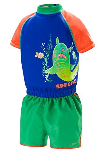 Speedo Kids UPF 50+ Begin to Swim Polywog Swimsuit, Blue/Orange, Small