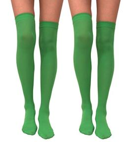 Felizhouse-ST-Patricks-Day-Solid-Green-Over-Knee-Socks-2Pairs-Women-accessories