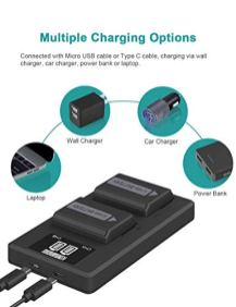 NP-FW50-Camera-Battery-Charger-Set-Replacement-Batteries-for-Sony-A6000-A6500-A6300-A6400-A5100-A7A7II-A7RII-A7SII-A7S-A7S2-A7R-A7R2-A55-RX10-2-Pack-Micro-USB-Type-C-Ports-1200mAh