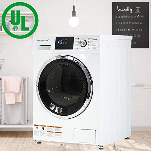 BestAppliance Washer Dryer Combo 24' Compact Laundry with 2.7Cubic. ft. Capacity Electric Dryer and Washer Stainless Steel Drum and Four Transport Bolts (Basic)