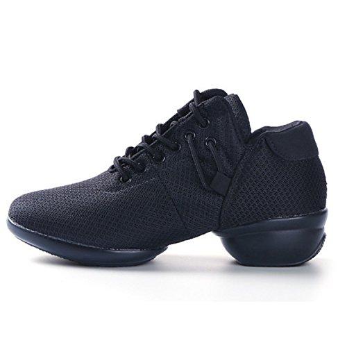 Women's Mesh Jazz Shoes Lady Girls Modern Split-Sole Dance Sneakers for Ballroom Breathable Lightweight