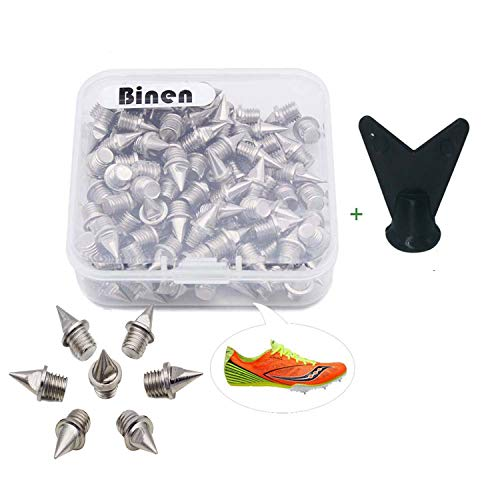 Binen Track Spikes 1/4' Length Pyramid Shoes Spike Replacement Stainless Steel for Track Sprint Cross Country with Free Wrench,110 Pieces
