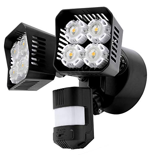 Upgraded SANSI LED Security Motion Sensor Outdoor Lights, 36W (250W Incandescent Equivalent) 3600lm, 5000K Daylight, Dusk to Dawn Waterproof Flood Light, ETL Listed, Black