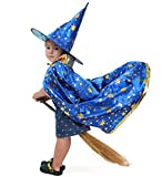 AtRenty Witch Cloak with Hat for Kids Wizard Cape Halloween Costumes Props for Children Cosplay Party Blue