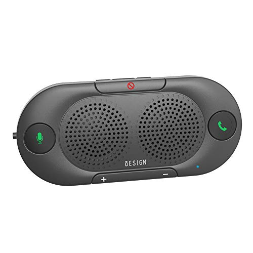 Besign BK06 Bluetooth 5.0 in-car Speakerphone with Visor Clip, Wireless Car Kit for Hands-Free Talking & Music Streaming, Connects with Siri & Google Assistant, Auto On Off, Dual 2W Speakers