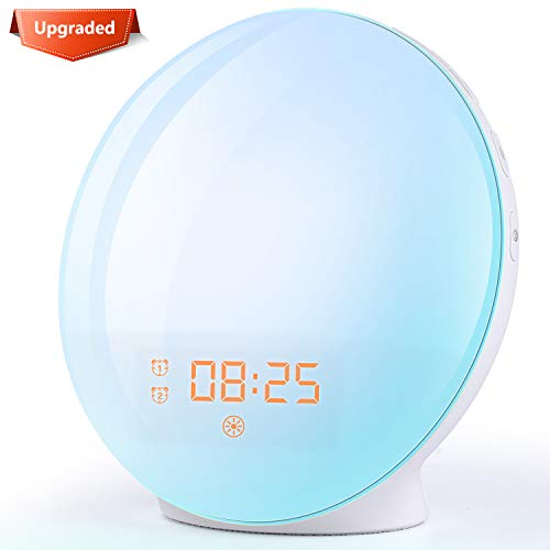 Wake Up Light Alarm Clock - Light Alarm Clock with Sunrise/Sunset Simulation Dual Alarms and Snooze Function, 7 Colors Atmosphere Lamp, 7 Natural Sounds and FM Radio, Ideal for Gift