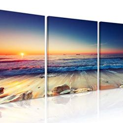 Natural art Weathered Rocks on The Beach Pictures for Dinning Room Wall Decor Beautiful Sunrise Scenery of Ocean Canvas Painting Framed 12×16 Inch 3 Panels