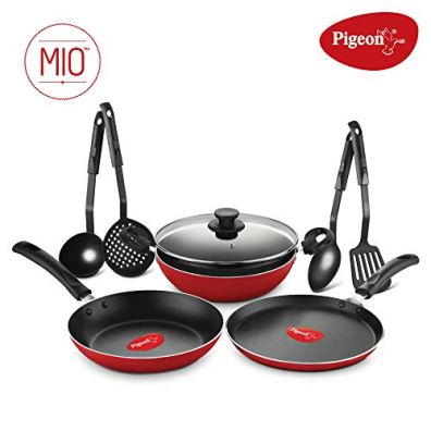 Pigeon-By-Stovekraft-Mio-Aluminium-Gift-Set-Red-8-Pieces-Non-induction