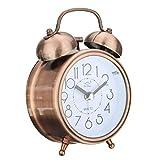 "Jeteven 3"" Twin Bell Alarm Clock with Backlight,Mini Non-Ticking Vintage Alarm Clock Quartz Analog Retro Desk Clock,Copper"